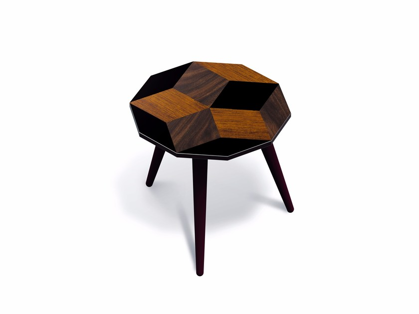 Beech wood and HPL side table PENROSE WOOD S - Bazartherapy