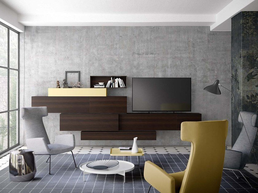 Sectional wall-mounted lacquered storage wall PEOPLE P215 by PIANCA