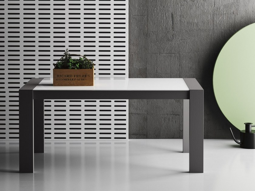 Extending rectangular wood and glass contract table PERLA by Imperial Line