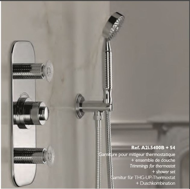 Contemporary style 2 hole wall-mounted metal bathtub mixer with hand shower PERLE | Bathtub mixer - INTERCONTACT