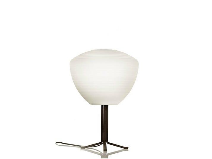 Satin glass table lamp PERSEO STELO 28 - Produzione Privata