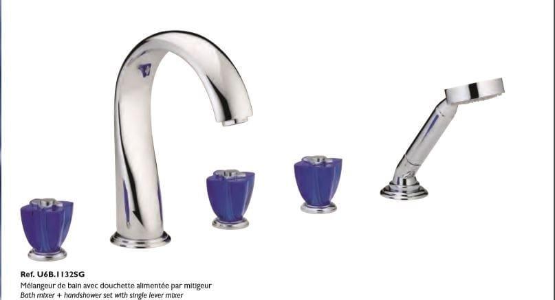 Miscelatore per vasca a 5 fori in metallo in stile moderno con doccetta con finitura lucida PETALE DE CRISTAL BLEU | Miscelatore per vasca - INTERCONTACT