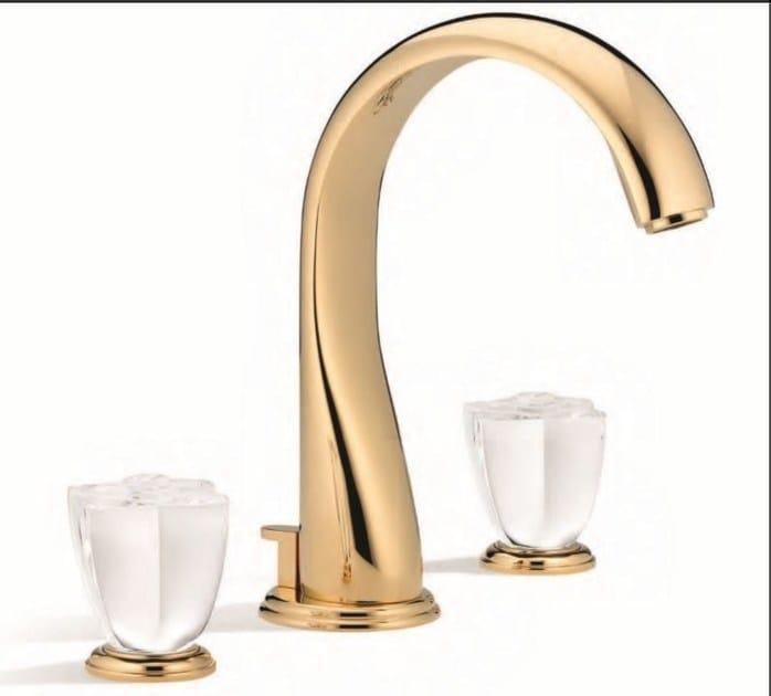 Contemporary style 3 hole gold colour metal washbasin mixer with aerator PETALE DE CRISTAL CLAIR | Washbasin mixer - INTERCONTACT