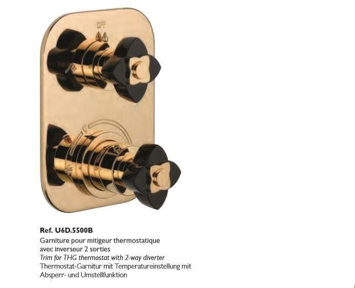 Miscelatore termostatico per doccia a 2 fori color oro in metallo in stile moderno con finitura lucida PETALE DE CRISTAL NOIR | Miscelatore termostatico per doccia - INTERCONTACT