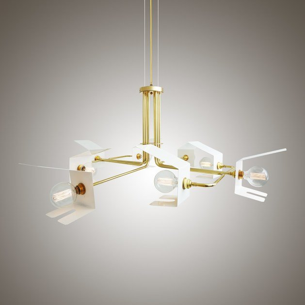 Direct light brass pendant lamp PETRA CHANDELIER by Mullan Lighting