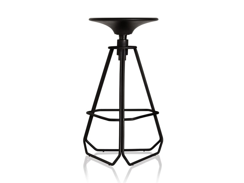 Height-adjustable carbon steel barstool with footrest PHILLIPS | Barstool - Sollos