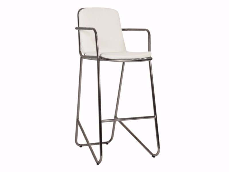 Stainless steel counter stool with armrests PHOENIX | Chair - Sérénité Luxury Monaco