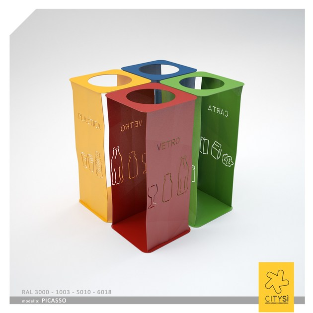Metal waste bin for waste sorting PICASSO BIN | Waste bin for waste sorting - CITYSì
