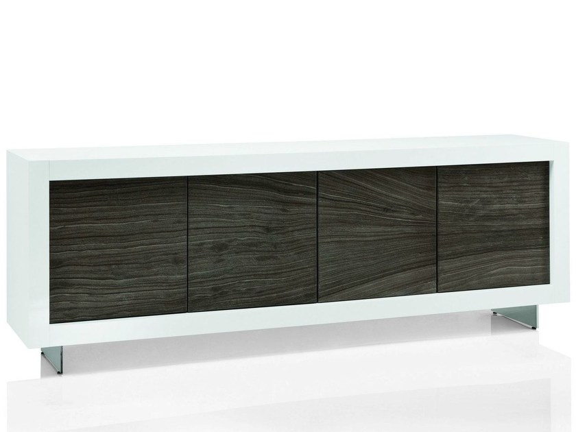 Natural stone sideboard with doors PICASSO P12 RIVER GREY by RIFLESSI