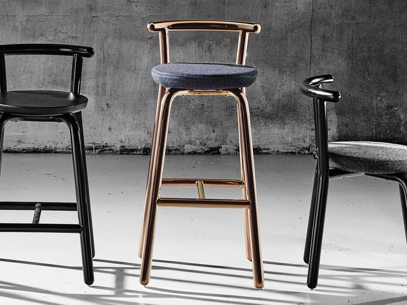 Contemporary style upholstered fabric counter stool PICKET | Counter stool - Derlot Editions