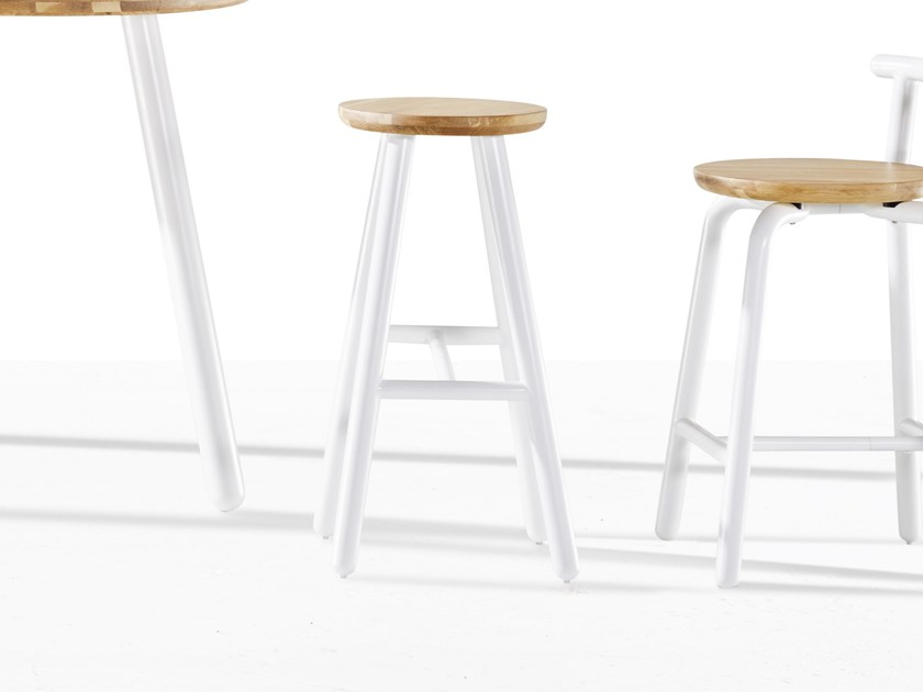 High wooden stool PICKET | High stool by Derlot Editions