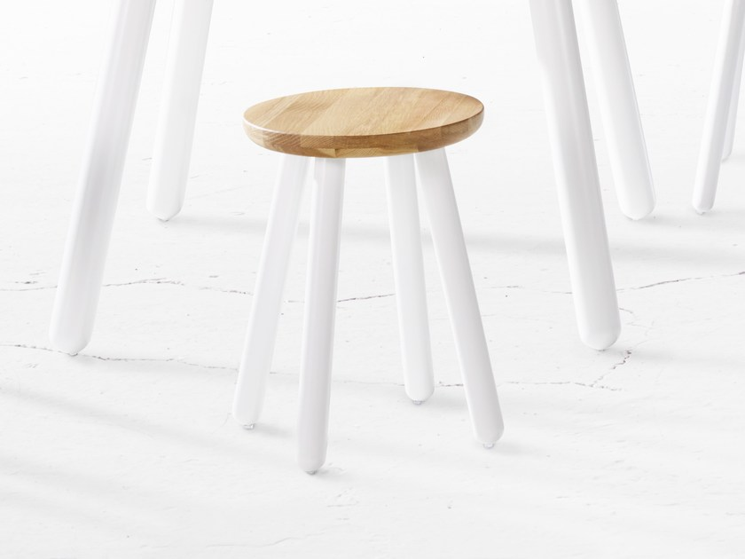 Wooden stool PICKET | Wooden stool by Derlot Editions
