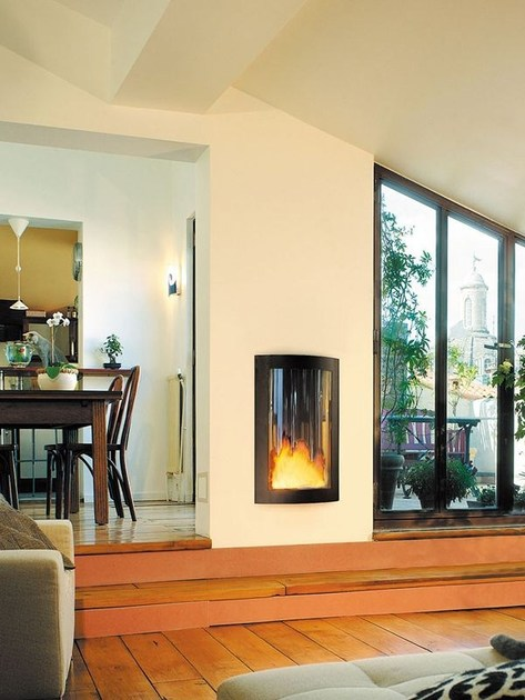 caminetto a gas a parete con vetro panoramico pictofocus. Black Bedroom Furniture Sets. Home Design Ideas