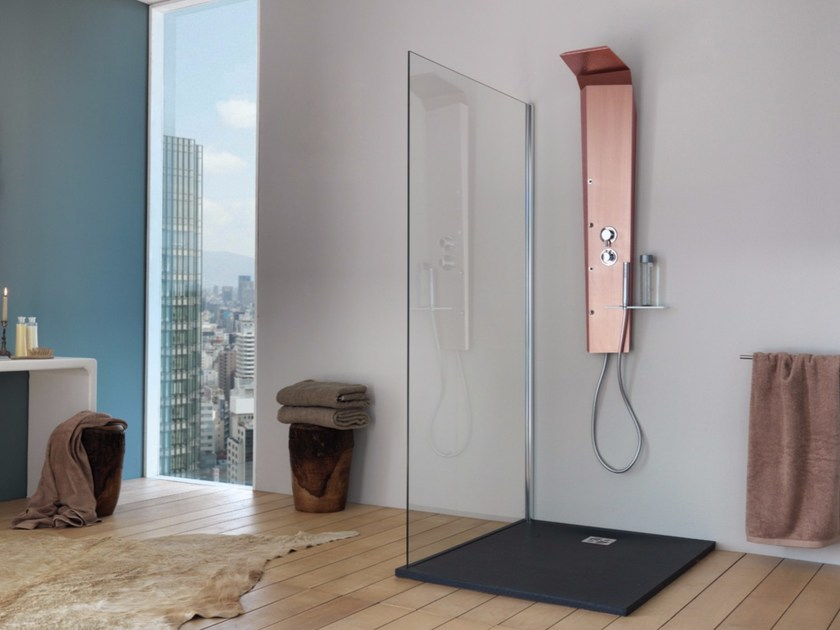Wall-mounted shower panel with overhead shower PICTOR TOP - Samo