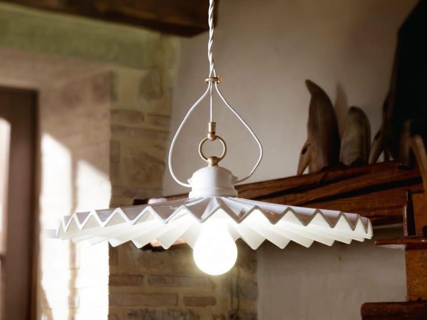 Direct-indirect light ceramic pendant lamp PIEGA | Pendant lamp - Aldo Bernardi