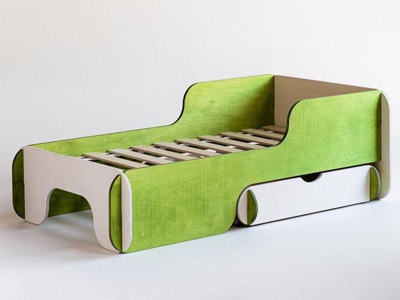 Plywood storage bed for kids' bedroom PIKU - Radis