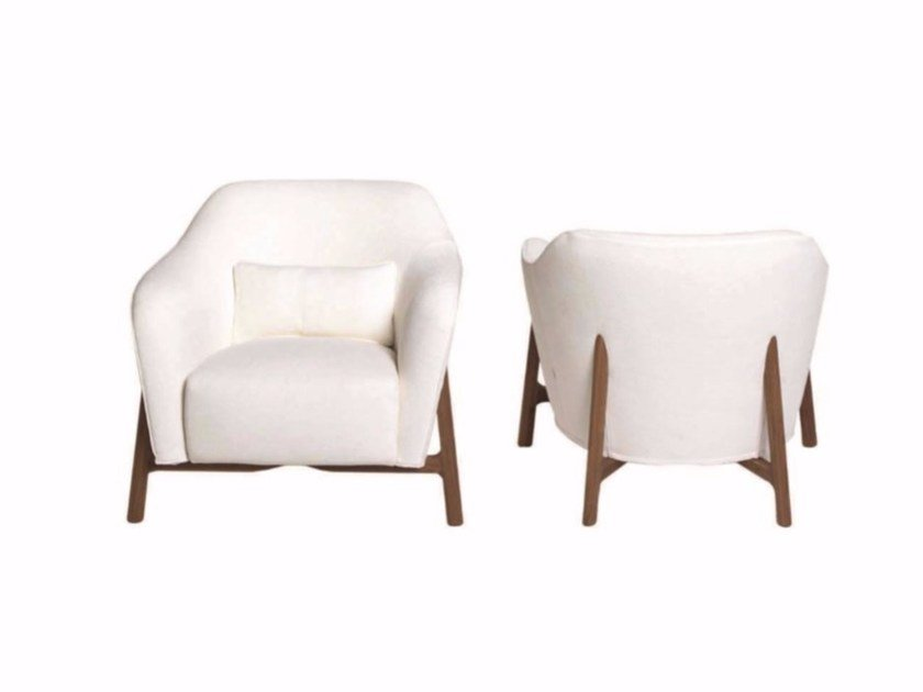 Upholstered fabric armchair with removable cover with armrests PILOTIS | Armchair - DE PADOVA