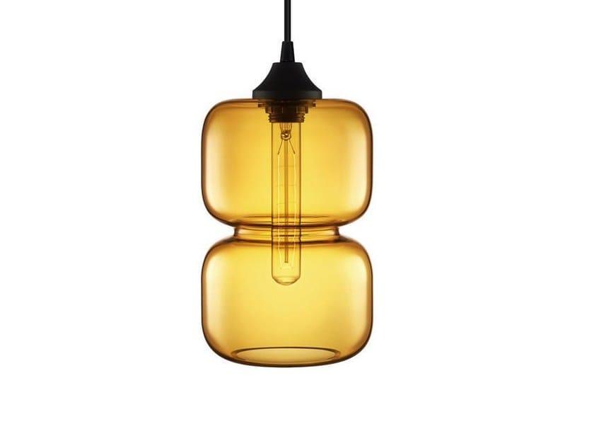 Lampada a sospensione fatta a mano in vetro soffiato PINCH PRISMA - Niche Modern