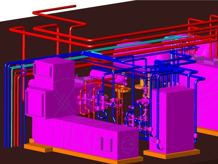 Thermo-refrigeration plantroom design PIPING by ATH ITALIA software