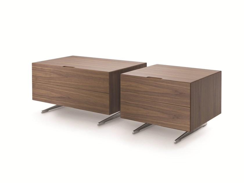 Rectangular wooden bedside table with drawers PIUMA 2016 - FLEXFORM