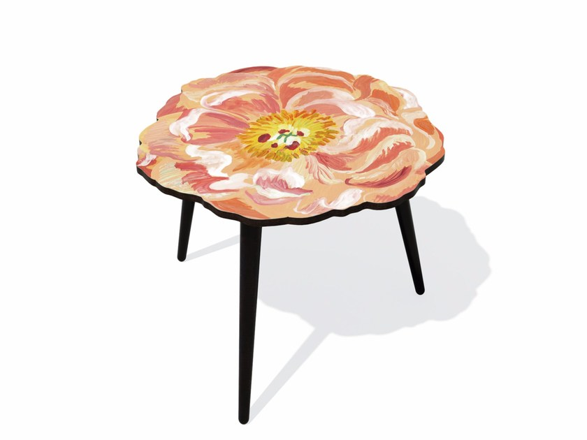 Beech wood and HPL side table PIVOINE M - Bazartherapy