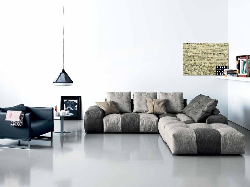 Sectional sofa with chaise longue PIXEL | Sofa with chaise longue - Saba Italia