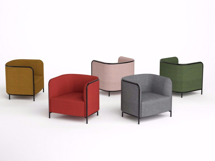 Fabric armchair with armrests PLACE | Fabric armchair - GABER