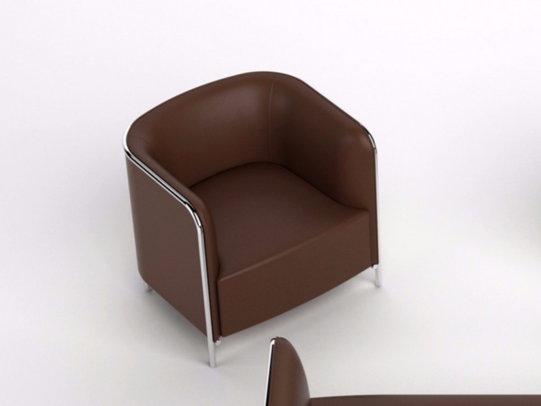 Imitation leather armchair with armrests PLACE | Leather armchair - GABER