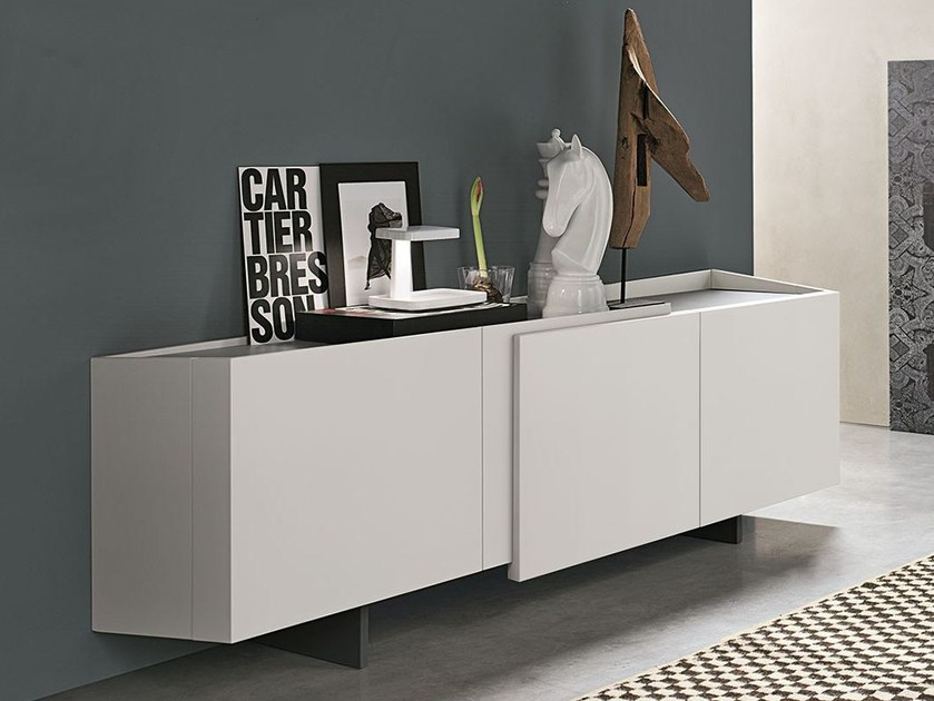 Lacquered wooden sideboard with doors with drawers PLAID - ALIVAR