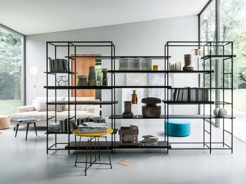 Sectional metal bookcase PLAIN by Lema