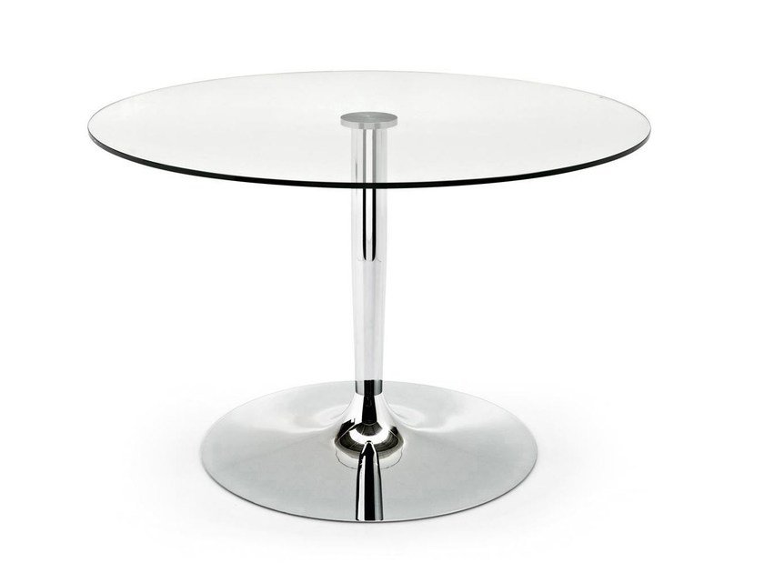 Round glass and steel table PLANET - Calligaris