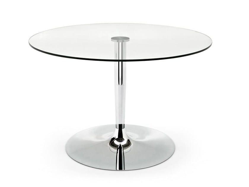 Tavolo rotondo in acciaio e vetro PLANET - Calligaris