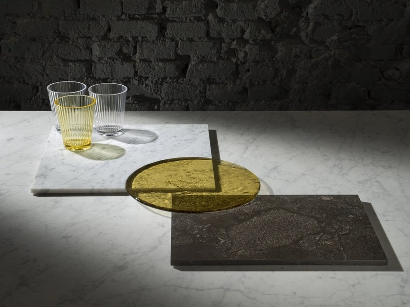 Natural stone tray PLAT-EAU Glass by SALVATORI