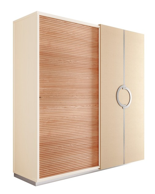 Contemporary style mirrored wooden wardrobe with sliding doors with drawers PLATEAU | Wardrobe with sliding doors - Caroti