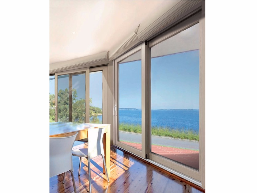 Porta finestra alzante scorrevole in legno e alluminio platinum slide al 90 cos met - Meccanismo porta scorrevole ...