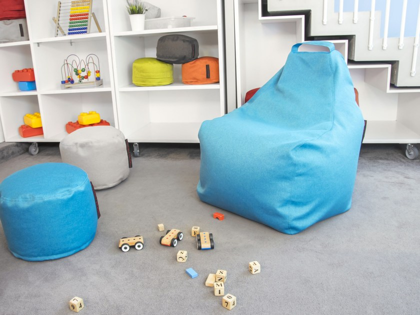 Upholstered fabric bean bag with removable cover PLAY NORDIC - Pusku pusku