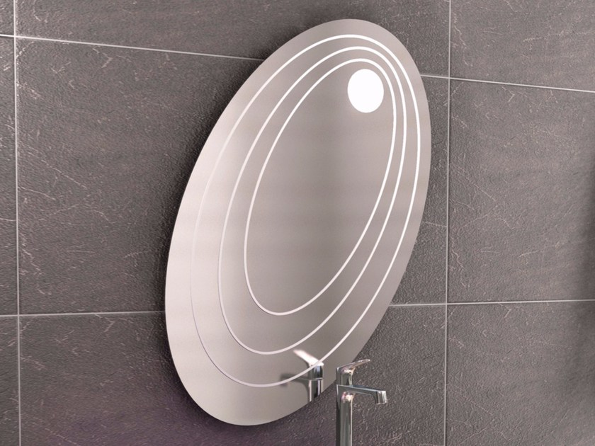 Oval wall-mounted mirror with integrated lighting CHEF SET ONE | Mirror - LINEAG