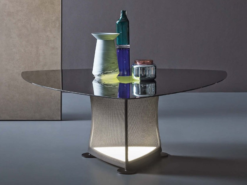 Steel table with light PLETTRO - Natevo