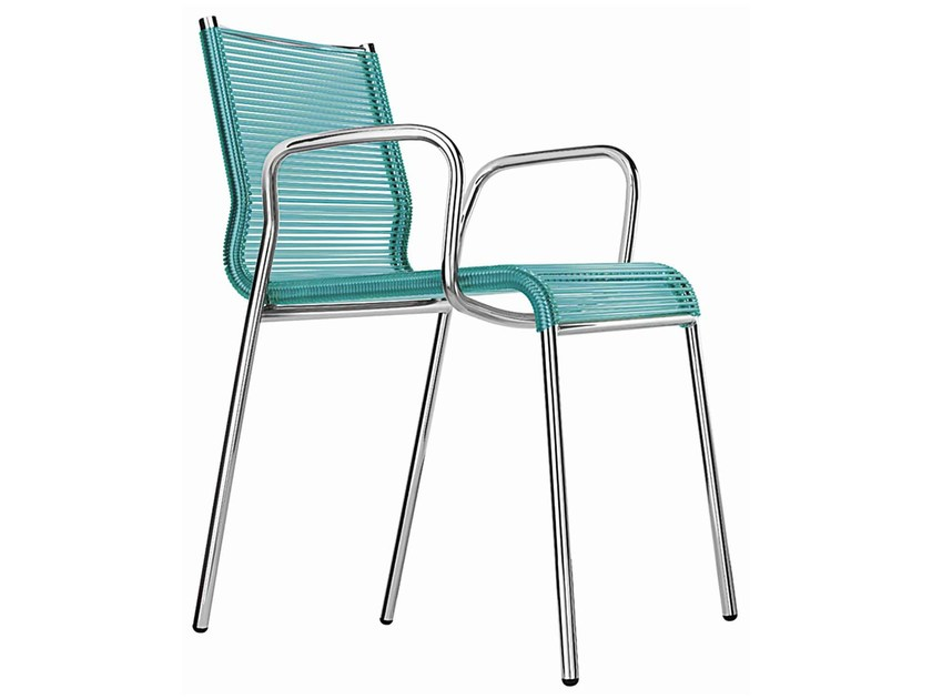 Steel and PVC garden armchair with armrests Plot S0174 - Metalmobil