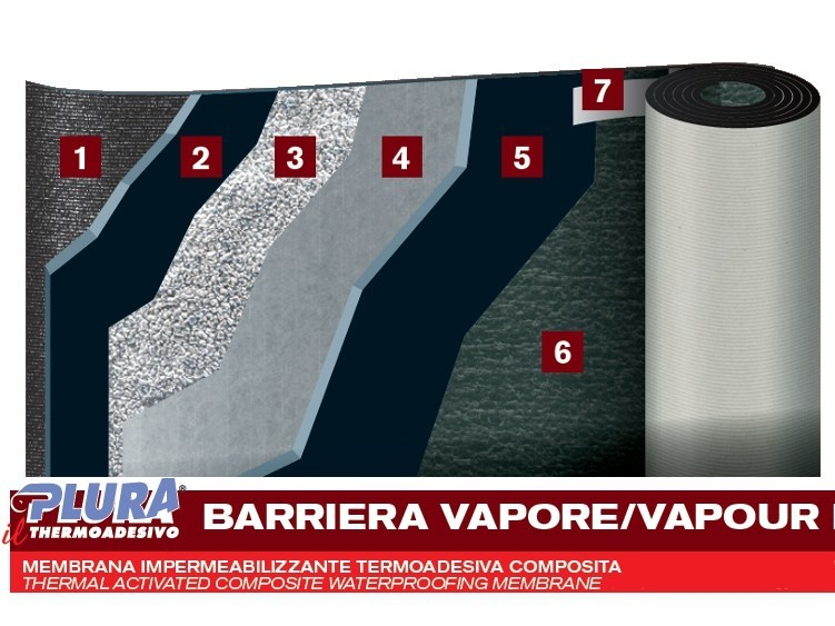 Prefabricated bituminous membrane PLURA VAPOUR BARRIER - PLUVITEC