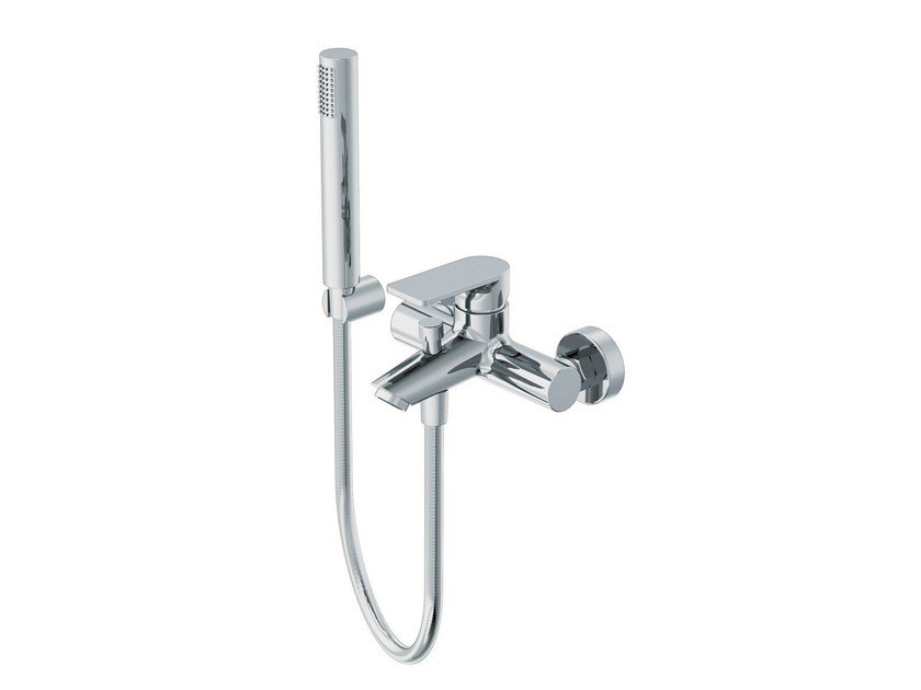 Bathtub mixer with hand shower with flexible hose POIS | Bathtub mixer with hand shower by RITMONIO