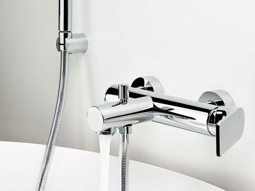 Wall-mounted bathtub mixer with hand shower POIS | Single handle bathtub mixer - RUBINETTERIE RITMONIO