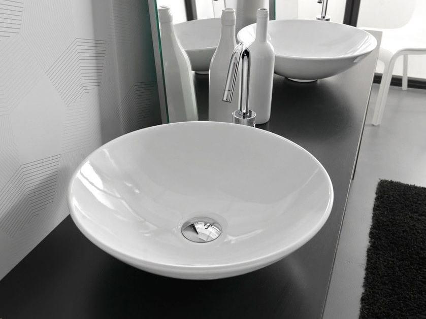 Countertop round ceramic washbasin POLIS by Hidra Ceramica