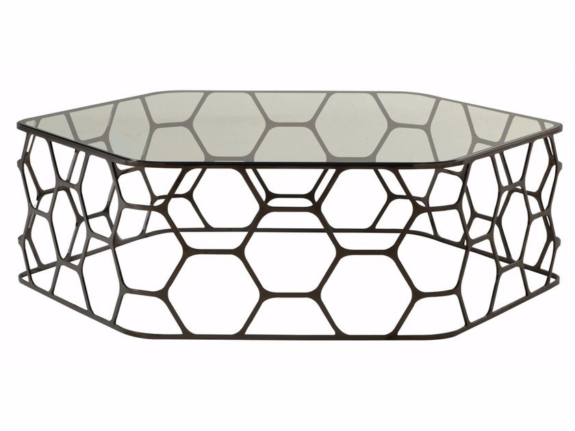 Glass and steel coffee table POLLEN by ROCHE BOBOIS