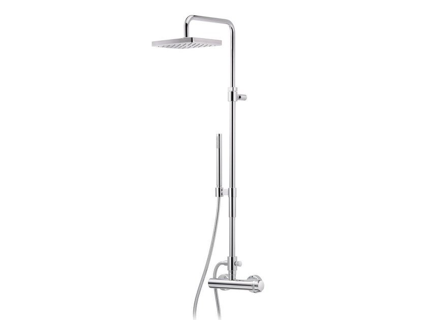 Wall-mounted shower panel with hand shower with overhead shower POLO CLUB | Wall-mounted shower panel - rvb