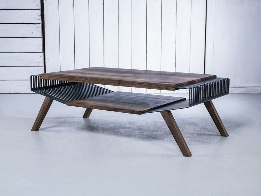 Solid wood coffee table with storage space NO 2 LARGE - HOOKL und STOOL