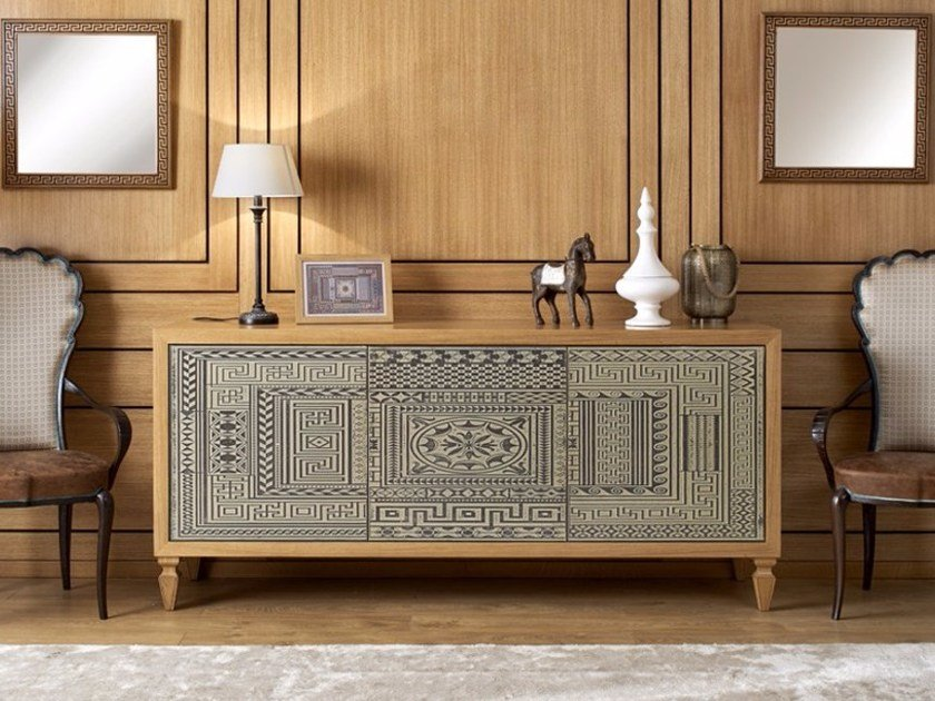 Solid wood sideboard with doors POMEIUM ORNAMENTA by Arvestyle