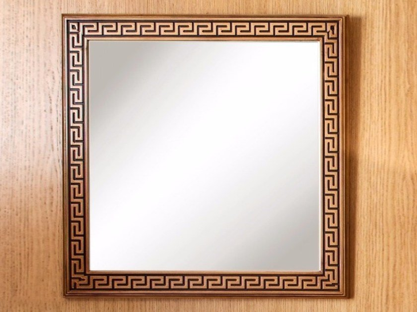 Square wall-mounted framed mirror POMPEIVM | Mirror - Arvestyle