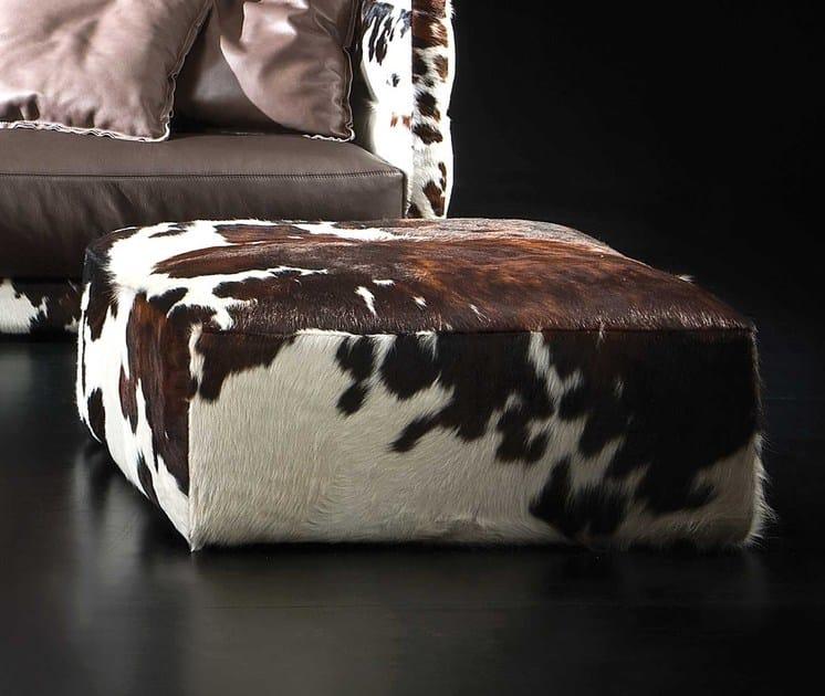 Contemporary style square horse hide pouf PONY | Horse hide pouf - ITALY DREAM DESIGN - Kallisté