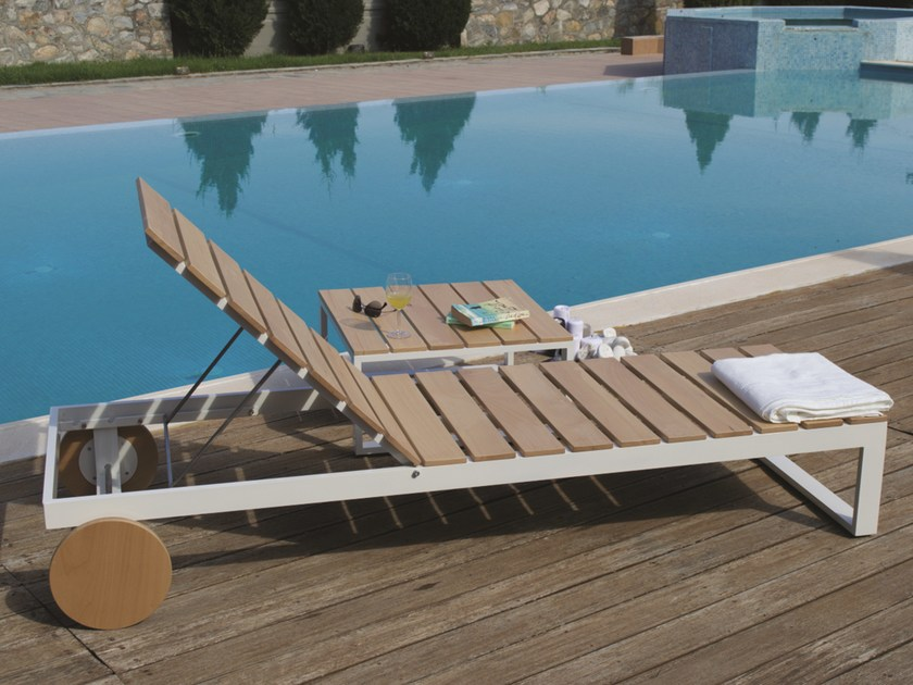 Recliner iroko garden daybed with Casters POOL | Aluminium garden daybed - Efasma